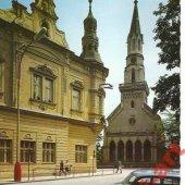 tovar Lučenec, kostol, aut  vyrobil hus